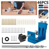 Professional Hand Tool Sets 46 Pcs Pocket Hole Drill Puncher Jig Kit Positioner Locator Angle Guide Set Saw Step Bits Screwdriver Bit