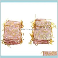 Bolsas, Embalagem Exibição Jóias100PC 7x9cm Rosa Organza DSTRing Presente de Jóias de Jóias Casamento Casamento Xmas Partido Presentes Sacos Rosa Gota Entrega 2