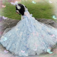 Free Shipping Handmade Dog Clothes Wedding Gown Trailing Princess Dress Blue Soft Tulle Butterfly 3D Daisy Yorkie Maltese Poodle