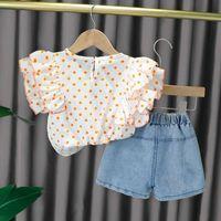 Clothing Sets Kids Baby Girls Summer Sleeve Dot Tops T-shirts Denim Short Pants Bow Toddler Children Clothes 2pcs 6M-4Y