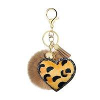 Creative Tassel Heart Pompom Keychain Petit cadeau Strass Strass Léopard Imprimer Flanelle Unique Cuir Pu En Cuir Style d'amour Imitation Lapin Cheveux 1124 B3