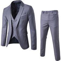Erkek 3 Parça Blazers Pantolon Yelek Sosyal Takım Erkekler Moda Katı İş Takım Elbise Set Ince Erkek Formale Takım Elbise Artı Boyutu