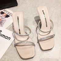 Sommer 2021 New Womans Sommer High Heel Hausschuhe Offene Zehen Open Outdoor Sandalen Strassmode Sexy Solid Color Plus Sizedress Schuhe