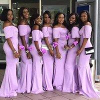 2021 Лаванда с плечевой русалки с короткими рукавами Ближний Восточный длинные платья подружки невесты с щельюмистыми взрослыми для взрослых подружки невесты