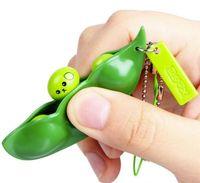 Spremere giocattoli per il fagiolo di estrusione portachiavi piselli soia portachiavi Edamame fidget giocattoli giocattoli decompressione giocattolo cinghie per telefono regalo festa favorire oob5342