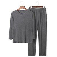 Herbstkleidung 95% modaler Baumwolle MEN's Pyjamas Set Langarm Plus Größe Pyjama Hosen Männlich Casual Oansatz Lose Pyjama für Mann 210901