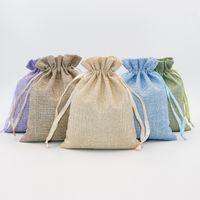 5pcs 린넨 코튼 Drawstring 선물 주머니 가방 라벤더 그린 자연 색상 조정 가능한 쥬얼리 포장 가방