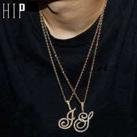 Pendant Necklaces Hip Hop A-Z Cursive Letters CZ Custom Name & Bling Cubic Zirconia For Men Jewelry With Rope Chain
