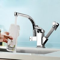 Kitchen Faucets Full Copper And Cold Faucet Pull Out Rotating Retractable Sink Vegetables Basin Mixer With Spray Gun Torneiras