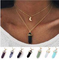 Mode Womens Halskette Goldkette Naturstein Sechseckige Säulen Anhänger Anweisung CHOKERS Halsketten Quarz heilende Kristalle