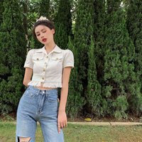 Women's Blouses & Shirts Korean clothes lace up harvest top ladies blouses woman white shirts fashion brand turn-down summer collar RPCX