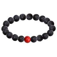 Perline, Fili EBUTY LavA Stone e Red Tourmaline Bracciali Accessori per la salute Braccialetto Vulcanico Catena da polso per le donne