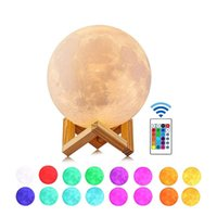 3D LED Night 16colors Magical Moon LED Light Moonlight Desk Lamp USB Rechargeable 3D Light Colors Stepless for Christmas lights or gifts
