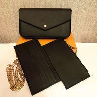 디자이너 Pochette 3 PCS / Set Wallets 여성 양각 가죽 핸드백 Luxurys Womens Messenger 체인 어깨 가방 클러치 크로스 바디 지갑 상자 M64064 M61276