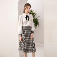 봄 새로운 여성 세트 다이아몬드 아플리케 활 knot 긴팔 셔츠 탑스, 격자 무늬 트위드 프 린 스커트 사무실 2 피스 슈트 OKXM