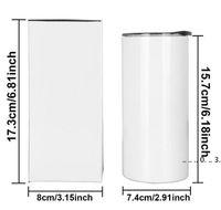 Sublimation Skinny Tumbler 15OZ Hohe dünne Kegel-Tumbers Weißes leeres vakuumisoliertes Wasserbecher für Wärmeübertragung SES Versand FWC6657