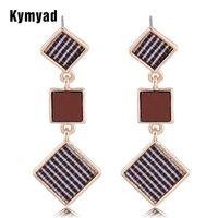 Stud Kymyad Earrings For Women Jewelry Square Pendant Earings Fashion Vintage Gold Color Long Boucle D'oreil