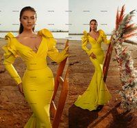 Matte Stain Mermaid Evening Pageant Dresses 2022 Ruffles Long Sleeve Yellow V-neck Arabic Red Carpet Celebrity Prom Dress Wear