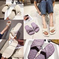 Kq0Bx women Flops lock it flat leather Slippers Genuine slipper mule Luxury slides Summer Flat Chaussures sandal Black White designer Blue