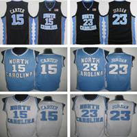 15 Vince Carter UNC Jersey Kuzey Carolina Mavi Beyaz Dikişli NCAA Koleji Basketbol Formaları Nakış Şort Takım Elbise