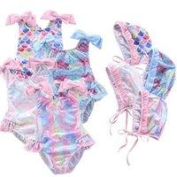 Girls Summer Beach One Piece Mermaid Swimsuit With Hat Bathing Cap Lovely Ballet Skirt Multi Colors Swimwear Children Bathing Suit G60F4RY