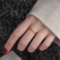 18K Solid Yellow Gold Jewelry(AU750)Ins Designer Twist Ring Square Brand Birthday Gift Can Beengraved Fine Jewelry Customize