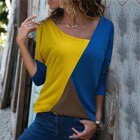 Women's Blouses & Shirts Ladies Tops Shirt Blusas Mujer Women Blouse 2021 Autumn Causal Slim Offioce Skew Collar Patchwork Long Sleeve 2XL