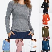 Лу йога женские носить быстро техники женские спортивные футболки с длинным рукавом наряд футболки влага вязание вязание высокоэластичные фитнес тренировки LULU модные тройники
