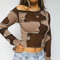 Women's T-Shirt Women Patchwork Pullover Brown Long Sleeve Close-fitting Crop Tops, S  M  L  XL