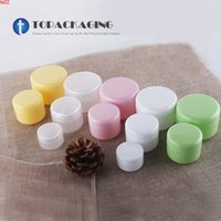 50pcs / lot-50g PP Tarro crema, contenedor cosmético de plástico vacío con tapa de tornillo, muestra de maquillaje de muestra, máscara de bocadillo de bocas