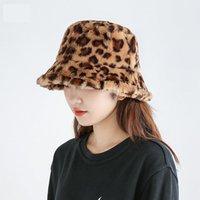 Wide Brim Hats Autumn Winter Panama Hat For Women Faux Fur Bucket Cow Print Plush Velvet Warm Fisherman Vacation Cap