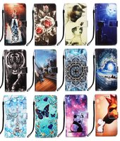 Printed leather wallet phone cases for iphone 13 pro max mini Samsung A03S Moto G Stylus 2021 5G cat butterfly tiger flower with credit card slot flip cover