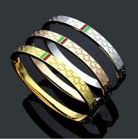 Mai dissolvenza hip hop boys uomini donne ragazza deluxe braccialetto gioiello 316L acciaio inox argento oro rosa verde rosso g lettera bracciali braccialetti Bangles 19cm