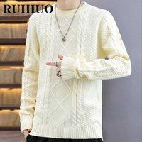 Ruihuo белый корейский свитер мужская одежда Harajuku мода мужская свитер пуловер ретро одежда хип-хоп трикотаж 2xL 2021 осень Y1011