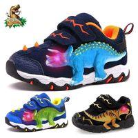 Dinoskulls 3-8 Garçons Automne Hiver Chaussures Dinosaure LED Sneakers rougeoyants Enfants Sports 3D T-Rex Enfants Véritable Chaussures en cuir 210311