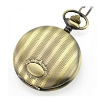BESTIME Watch Quartz Movement Pocket Watches Antique Bronze Case Gift Present 6 Pieces