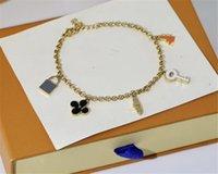 Regalo de Navidad 925 Letra de plata Pulsera de flor Set Declaración de boda Joyería Cadena Colgante Brazalete con caja de regalo