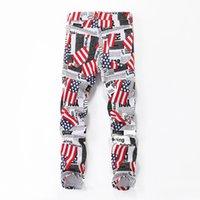 Mens Jeans Bandiera nazionale Bandiera Stampa Pantaloni da moto Bianco Design Lavato Retro High Street Moda Denim Pants