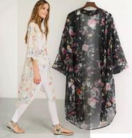 Donne Boho Chiffon Kimono Cardigan Cape Bikini Cover Up Floral Long Beach Robe Plage 2XL Camicetta Top Nero / Beige Saidsa de Praia