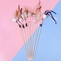 Cat Toys Pet Toy Linen Feather Cat-teeter Sticks Wooden Pole False Mouse Funny Playing For Cats Colorful Plush