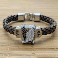 Nouveau mode d'anime de mode sur le bracelet Titan Bracelet Bracelet Bracelet Bracelet Bracelet Stringeki Non Kyojin Cosplay Cosplay Unisexe Cuir Bracelets