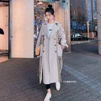 Women's Trench Coats 2021 Plaid Splicing Womens Long Double-Breasted Loose Oversize Clothing Windbreaker Female Outerwear Clothes Belt