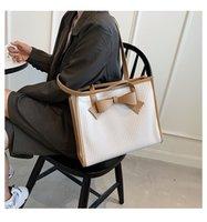 Stuff Sacks Handbags Large Capacity Women Wrinkle Bowknot Tote Bag Cloth Shopper Letter Printing Handbag Ins