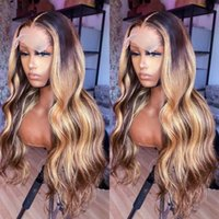 Highlight Brown Color Brazilian Remy 13x4 Human Hair Wig Body Wave Blonde 4x4 Lace Closure Wigs for Women