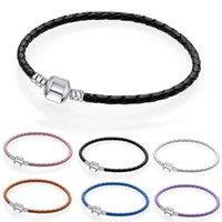 Fashion Link Bracelet 16-21cm Genuine Leather Ball & Barrel Clasp Bangle Fit Europe Beads Snake Fine Bracelets Women Mne Jewely