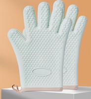 Guantes de silicona anti escaldan y aislamiento de calor engrosados para cocinas guantes especiales para hornear en horno de microondas a alta temperatura impermeable