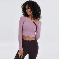 Yoga Outfits Womens Long Sleeve Running Shirts Sexy Exposed Navel T-shirts Solid Sports Beautiful Back Quick Dry Fitness Gym Tops
