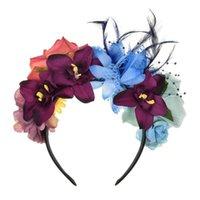Donne Giorno del Dead Mexican Fascia Fascia Contrasto Colorato Rosa Artificiale Fiore Rosa Piume Crown Garland Halloween Party Hair Hoop