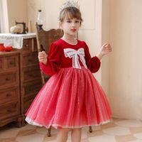 Girls dress autumn winter 2021 children's foreign style Plush thickened red skirt girls princess