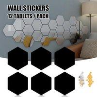 Наклейки на стену 12 штук Съемное акриловое зеркало Настройка наклейки наклейки для дома Гостиная Спальня Decor J8